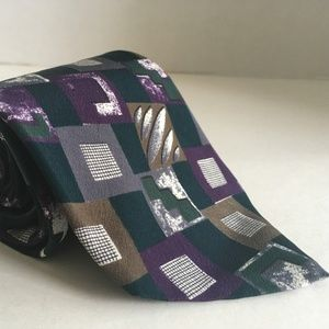 Bill Blass Square Pattern All Silk Necktie